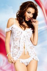 Dámska erotická košieľka Softline Collection Erika biela