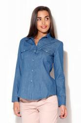 Dámska košeľa Katrus K171 tmavo modrá