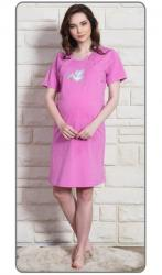 Dámska nočná košeľa materská Vienetta Secret Bocian s čiapkou