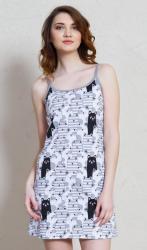 Dámska nočná košeľa na ramienka Vienetta Secret Čierna mačka