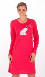 Dámska nočná košeľa s dlhým rukávom Méďa na saniach