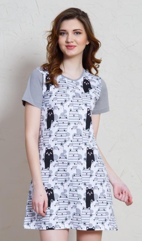 9281ad64582d Dámska nočná košeľa s krátkym rukávom Vienetta Secret Čierna mačka ...