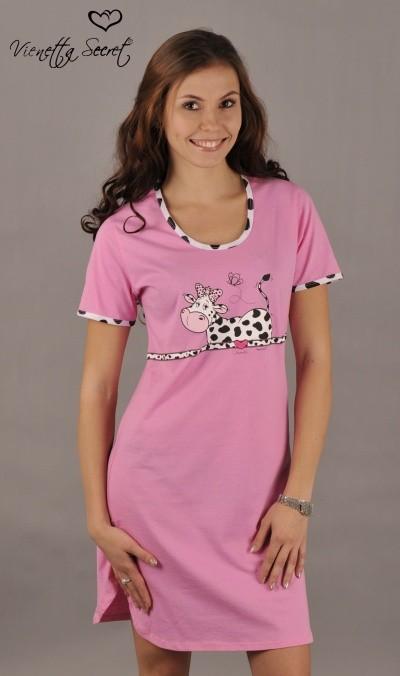 2f3f1c602 Dámska nočná košeľa Vienetta Secret (kr.rukáv) - Stojaci fľakaté kravička