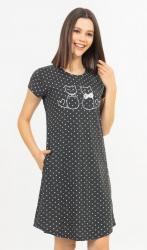 Dámske domáce šaty s krátkym rukávom Vienetta Secret Koťata