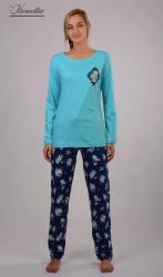 Dámske pyžamo dlhé Vienetta Secret Medveď a ruže