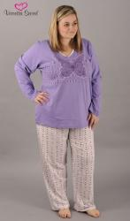 Dámske pyžamo dlhé Vienetta Secret Obrys motýľ