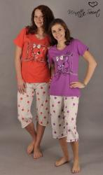 Dámske pyžamo kapri Vienetta Secret Mačka v posteli