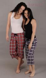 Dámske pyžamové nohavice Vienetta Secret (kapri-plátno) - Kocky