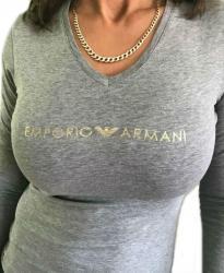 Dámské tričko Emporio Armani 163141 8A225 šedé