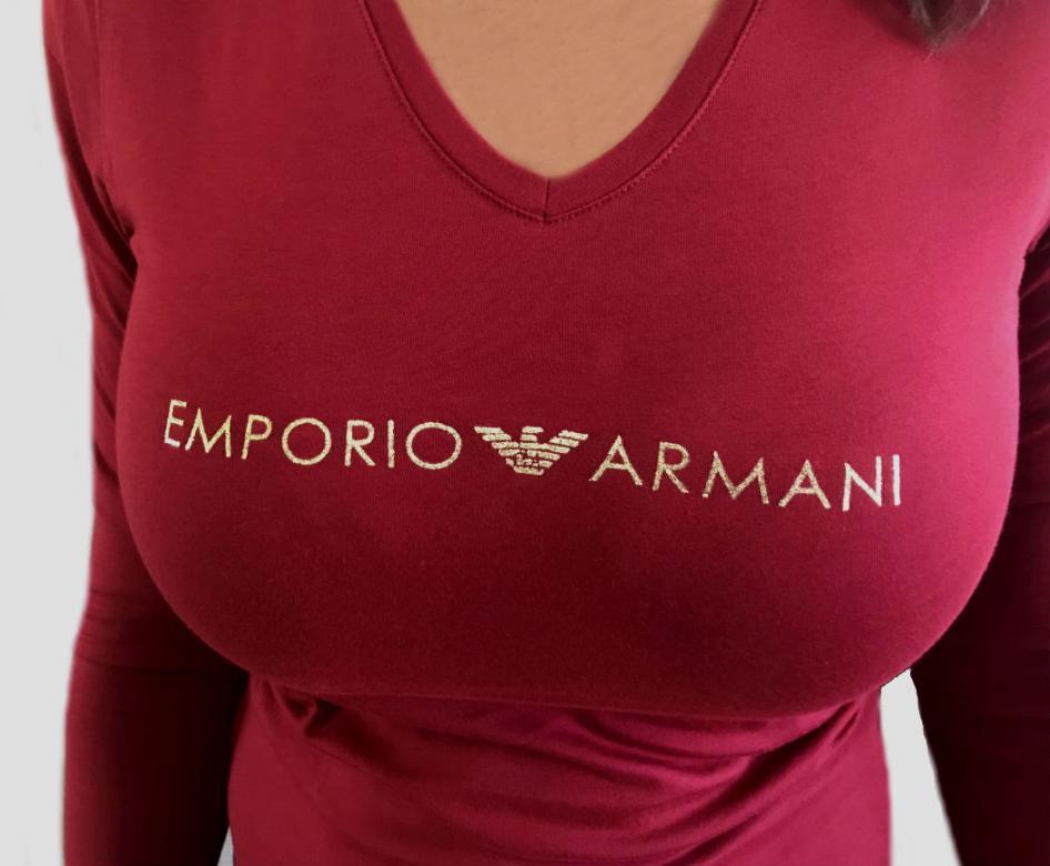 c3e3e560bb0b Dámske tričko Emporio Armani 163141 8A225 vínovej - Emporio Armani ...