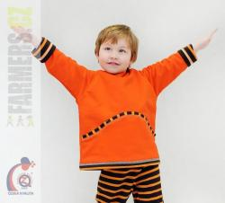 Detská obojstranná rastúca mikina Farmers s kapucňou - CHOCO oranž