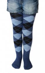 Detské pančuchy Design Socks káro džínsové