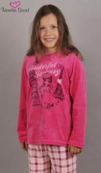 Detské velúrové pyžamo dlhé Vienetta Secret Dievča na cestách