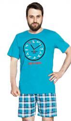 Pánské pyžamo šortky Vienetta Secret Kamasutra clock