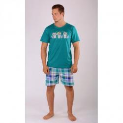 Pánske pyžamo šortky Vienetta Secret Medvedíky čistotné výpredaj