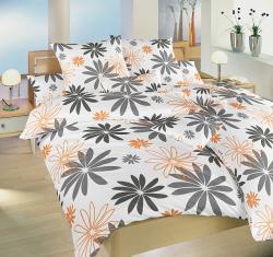 posteľné obliečky flanel-Gerbera oranžová-140x200 + 70x90