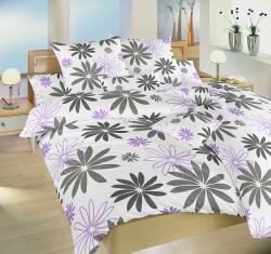 posteľné obliečky nežehlivá satén-Gerbera fialová-140x200 + 70x90