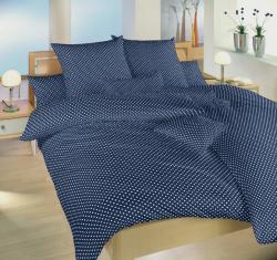 Povlečení bavlna Puntík biely na tmavo modrém-2 postele